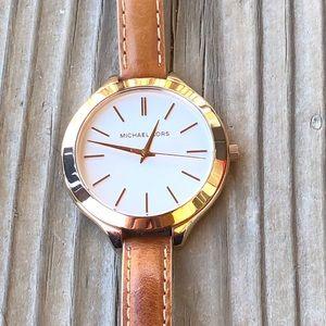 Michael Kors Runway Leather Gold Tone Watch!